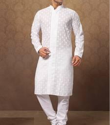 Buy white cotton poly embroidered kurta pajama kurta-pajama online