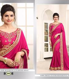 Buy Pink embroidered paper cotton saree with blouse wedding-saree online