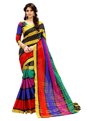 Multicolor plain silk saree with blouse