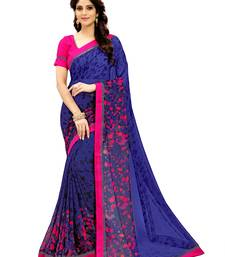 Buy Blue printed faux georgette saree with blouse below-1500 online