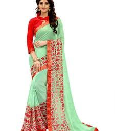 Buy Green printed faux georgette saree with blouse below-1500 online