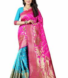 Buy pink printed silk saree with blouse printed-saree online
