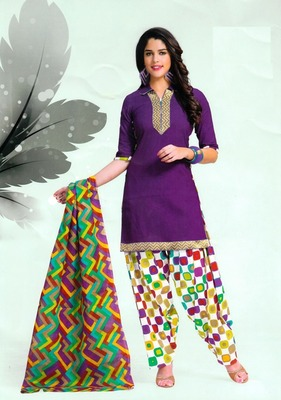 Radiant Purple Printed Cotton Patiyala Dress Material D.No PD710