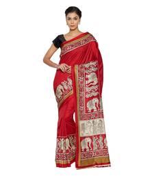 Buy Red printed manipuri silk saree with blouse manipuri-silk-saree online