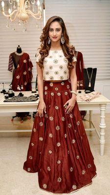 maroon silk embroidered semi-stitched lehenga choli