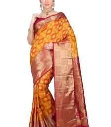 Buy Orange plain pure silk saree with blouse kanchipuram-silk-saree online