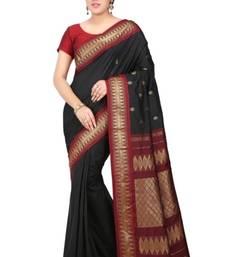 Buy Black plain pure mix saree with blouse kanchipuram-silk-saree online