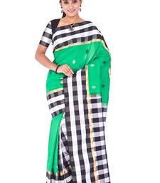 Buy Green, black and white plain pure mix saree with blouse kanchipuram-silk-saree online