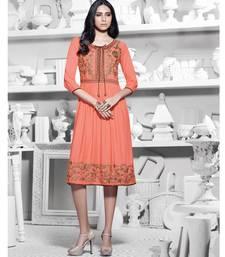 Buy Dull Orange Embroidered Premium Rayon Kurti kurtas-and-kurti online
