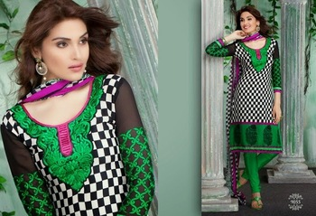 Trendy White & Green Embroidered Crape Dressmaterial
