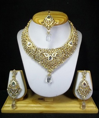 Golden Stone Studded Necklace Set