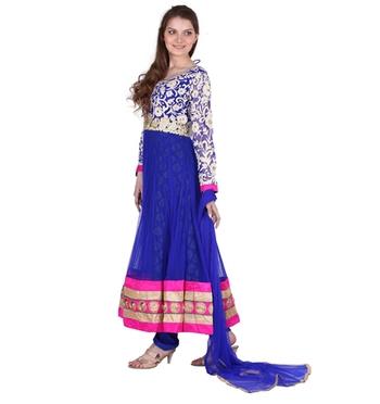 Designer Party Wear Blue Net Readymade Anarkali Churidar Kameez with Dupatta