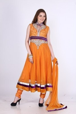 Designer Party Wear Orange Net Readymade Anarkali Churidar Kameez with Dupatta