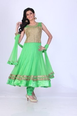Festival and Party Wear Green Net Readymade Anarkali Churidar Kameez with Dupatta