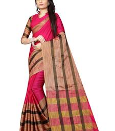 Buy Pink plain silk saree with blouse below-1500 online