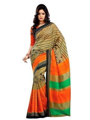 Beige Printed Art Silk Saree With Blouse