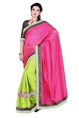 Green Border Worked Linen Saree With Blouse
