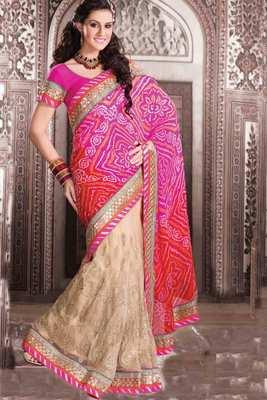 Beige net & georgette thread worked saree in multi colour border