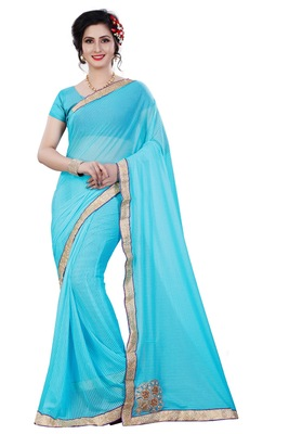 Sky blue plain lycra saree with blouse