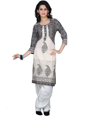 Beige Yellow Cotton Printed Casual and Party Kurti