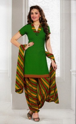 Trendy Green Printed Crepe Unstitched Dress Material D.No AN8008