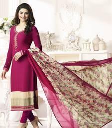 Buy Pink embroidered crepe salwar with dupatta black-friday-deal-sale online