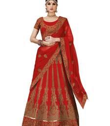 Buy Maroon embroidered art silk semi stitched lehenga with dupatta lehenga-choli online