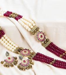 Buy Maroon pearl Pearl necklace-sets karva-chauth-jewellery online