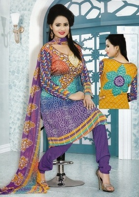 Dazzling Multi Color Printed Crepe Unstitched Dress Material D.No MP7431