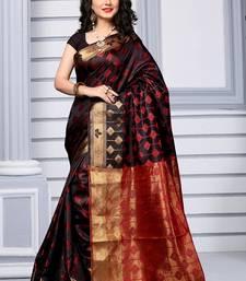 Buy Black woven silk saree with blouse banarasi-silk-saree online