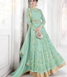 Buy Sky blue embroidered net salwar with dupatta anarkali-salwar-kameez online