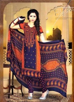 Radiant Multi Color Printed Crepe Unstitched Dress Material D.No T27002