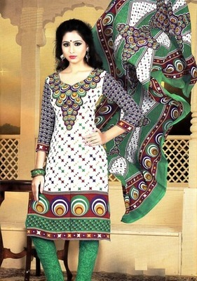 Fabulous White Printed Crepe Unstitched Dress Material D.No T27006
