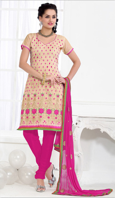 beige Churidar Suits with matching duppata