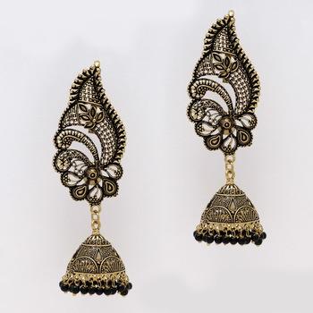 Black Color Oxidised Gold Plated Ear Cuff Jhumka Earrings