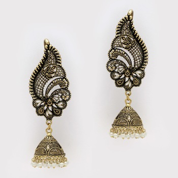 Oxidised Gold Plated White Color Ear Cuff Jhumka Earrings