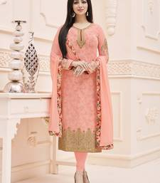 Buy Peach embroidered faux georgette salwar with dupatta ayesha-takia-salwar-kameez online