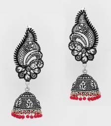 Buy Pink Color Oxidised Silver Plated Ear Cuff Jhumka Earrings ear-cuff online
