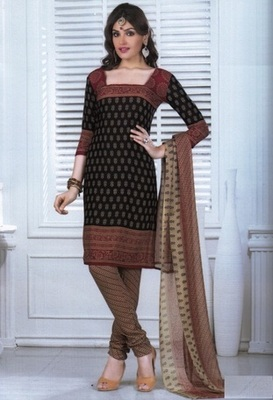 Fabulous Black Printed Crepe Unstitched Dress Material D.No MA220