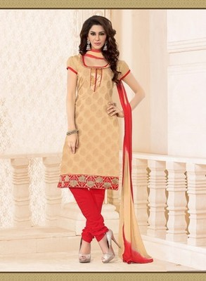 gold Designer Dress Material  with matching duppata