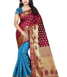 Buy Red printed cotton silk saree with blouse cotton-silk-saree online