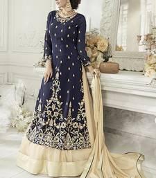 Buy Navy blue embroidered georgette salwar with dupatta sharara online