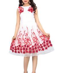 Buy White Net Embroidered dresses dress online