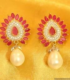 Buy Ruby Diamond Look Pearl Earrings stud online