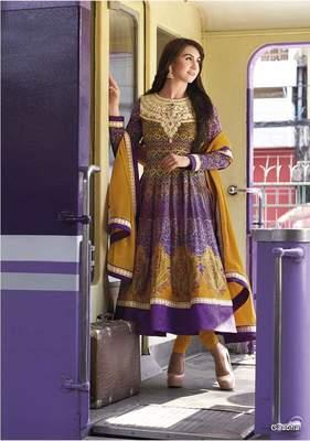 Purple GeorgetteSemi Stitch Dress