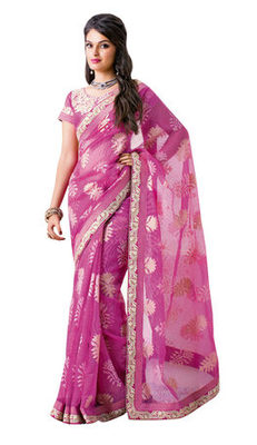 Pink Border Worked Net Saree With Blouse