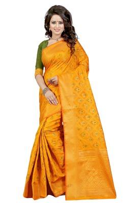Yellow tussar silk saree with blouse