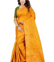 Buy Yellow tussar silk saree with blouse hand-woven-saree online
