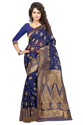 Blue poly cotton saree with blouse