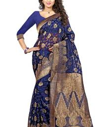 Buy Blue poly cotton saree with blouse hand-woven-saree online